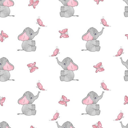 Seamless pattern with cute elephants and butterflies. Vector background for kids design. Baby print. Illustration