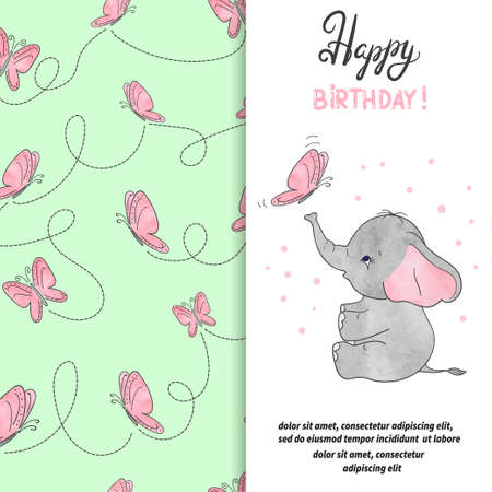 Happy Birthday greeting card with cute elephant and butterfly. Vector illustration.