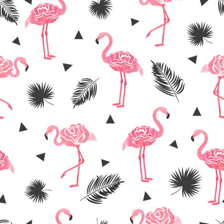 Seamless tropical trendy pattern with watercolor abstract flamingos triangles and palm leaves. Vector summer background in pink and black colors.