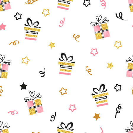 Celebration background with presents. Seamless Christmas or New Year vector pattern with gift boxes.