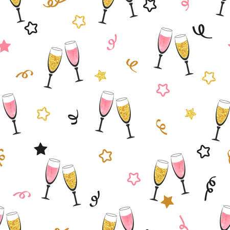 Celebration background with champagne glasses. Seamless Christmas or New Year vector pattern. Çizim