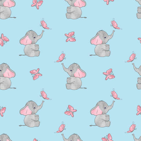 Seamless vector pattern with cute elephants and butterflies. Baby print.
