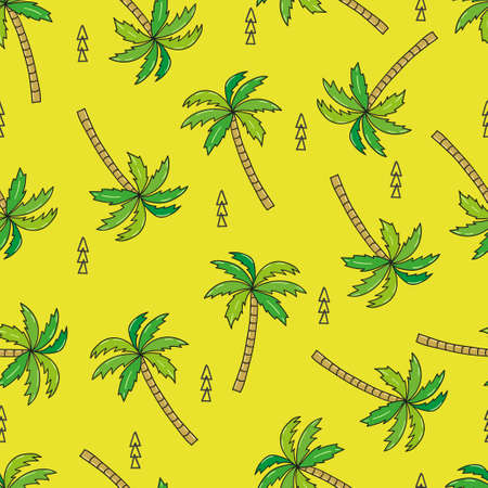 Green seamless pattern with doodle palm tree. Vector illustration Illustration