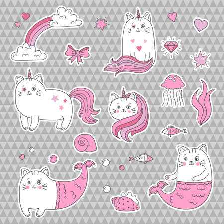 Nette Katze Einhorn Meerjungfrau. Satz modische Fleckenaufkleber der dekorativen Elemente. Vektor-Illustration. Standard-Bild - 81424421