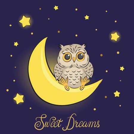 月にかわいい漫画フクロウ。甘い夢ベクトル イラスト  イラスト・ベクター素材