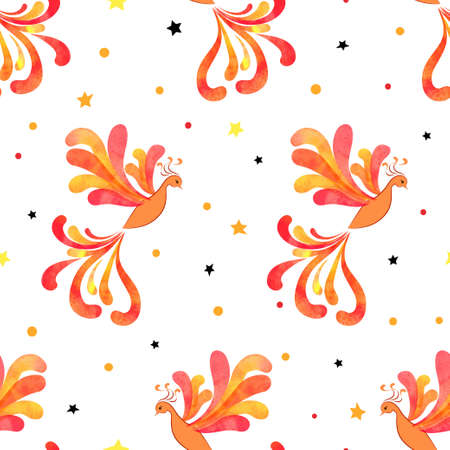Seamless Firebird pattern. Vector background with watercolor flying flaming Phoenix.