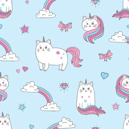 Seamless cats unicorns pattern. Vector background for kids design.