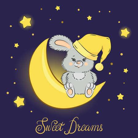 Cute cartoon bunny on the moon. Sweet dreams vector illustration.