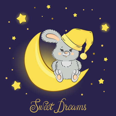 Cute cartoon bunny on the moon. Sweet dreams vector illustration.