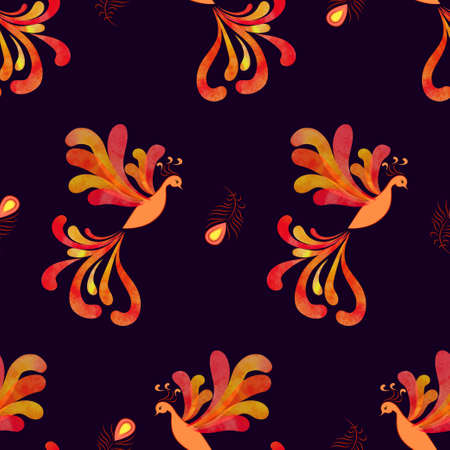 mythical phoenix bird: Seamless fairy Firebird pattern. Vector background with watercolor flying flaming Phoenix.