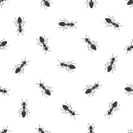Black and white vector seamless pattern with ants Ilustração