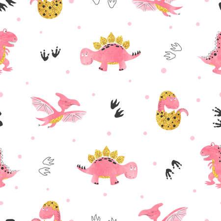 Seamless cute cartoon dinosaurs pattern. Vector dino background. Baby print.