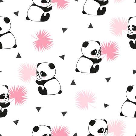 Cute panda bears seamless pattern. Vector background.