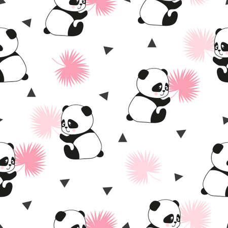 Cute panda bears seamless pattern. Vector background.