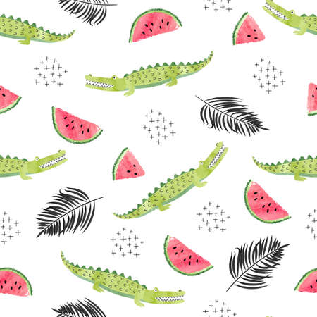 Seamless pattern with crocodiles watermelon slices and palm leaves. Vector abstract trendy tropical background. Stock Illustratie
