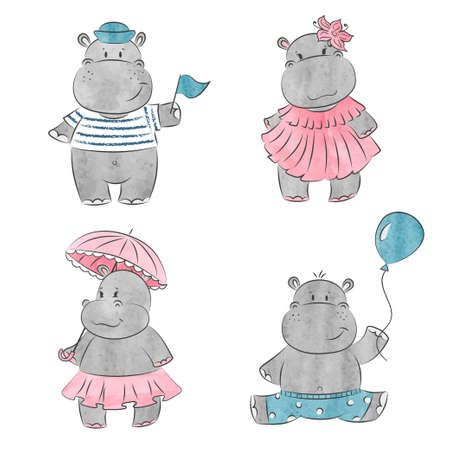 Set of cute cartoon baby Hippo. Vector watercolor illustration. Иллюстрация