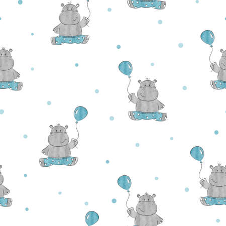 Seamless pattern with cute little Hippo. Vector background for kids design. Baby print. Stock Vector - 82807439