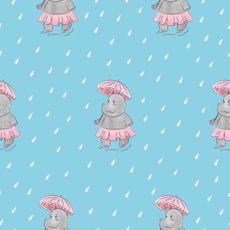 우산 원활한 패턴으로 귀여운 뚱 땡 소녀입니다. 아이 디자인에 대 한 벡터 비오는 배경.