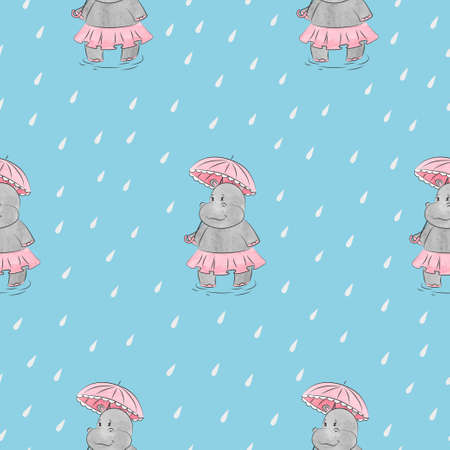 Cute hippo girl with umbrella seamless pattern. Vector rainy background for kid design.