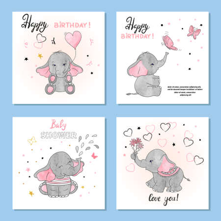 Cute Elephants vector illustrations. Set of birthday greeting cards posters prints.
