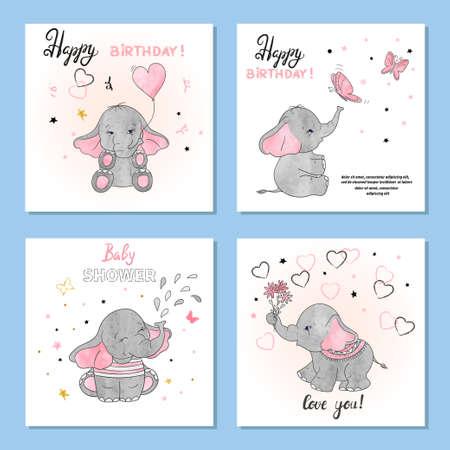 Schattig olifanten vectorillustraties. Set van verjaardag wenskaarten posters prints.