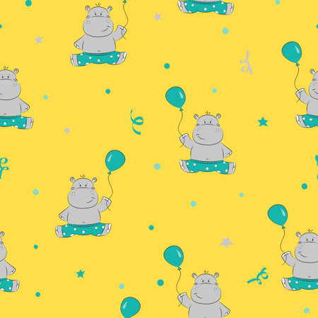 Cute little Hippo with balloon seamless pattern. Baby print. Vector background for kids design