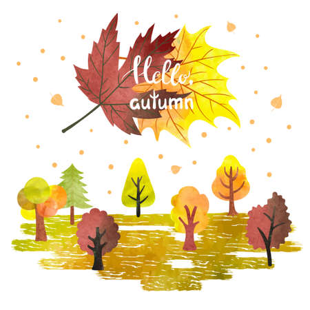 Watercolor autumn forest poster banner. Colorful trees and leaves. Hello autumn lettering. Vector illustration. Illustration