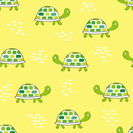 노란색에 녹색 거북이와 패턴입니다. 스톡 콘텐츠 - 83984518