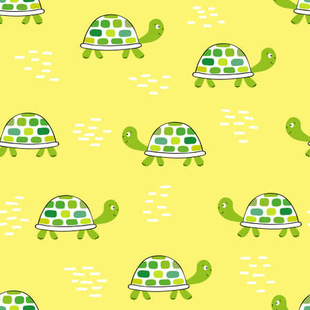 Pattern with green tortoise on yellow.