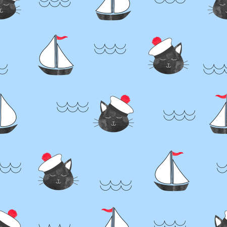 Seamless marine pattern with cat Sailor and ships. Vector sea background for kids