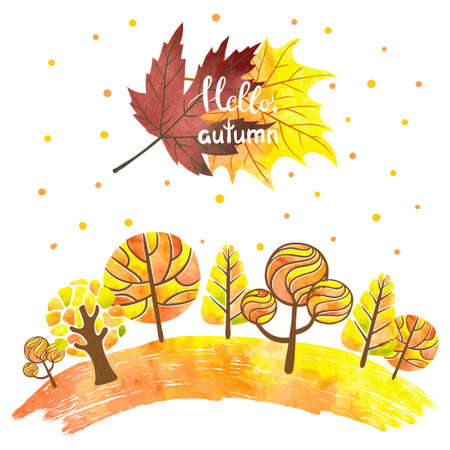 Watercolor abstract autumn forest background. Colorful trees and leaves. Hello autumn lettering. Vector illustration Illustration