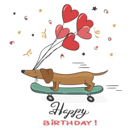 Tarjeta de felicitación con lindo perro dachshund y globos. Ilustración de vector de feliz cumpleaños.