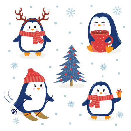 Cute Penguins Set. Merry Christmas And Happy New Year Greetings ...