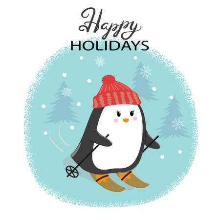 skiing: Merry Christmas card with cute skiing penguin. Happy New Year vector illustration for greeting cards design print posters.