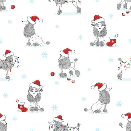 Christmas Pattern With Cute Poodle Dogs Vector Holiday Background