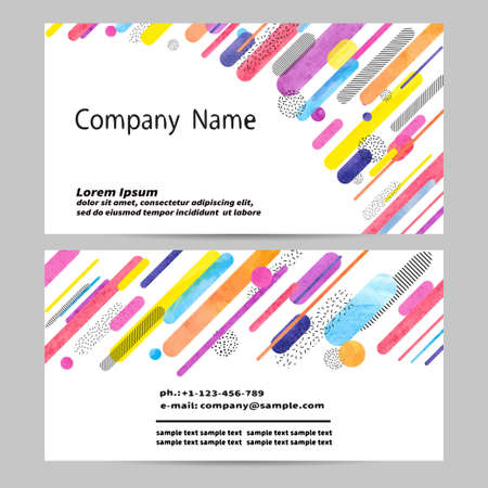 rainbow: Business card design with colorful abstract geometric shapes. Vector illustration. Illustration