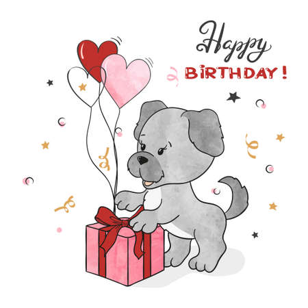 Happy Birthday card with cute puppy. Vector illustration.