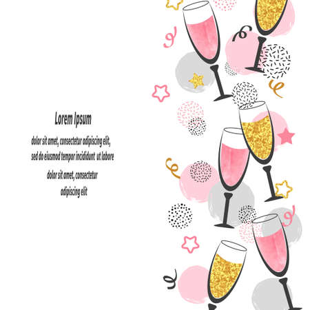 Champagne glasses background with place for text. Celebration vector border.