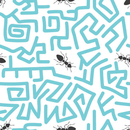 Seamless abstract pattern with ants. Vector labyrinth background. Ilustração