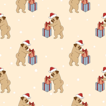 humor: Christmas pattern with cute pugs and gifts. Vector holiday background with cartoon dogs. Illustration