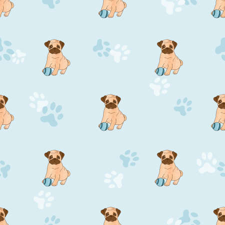 child sitting: Cute pugs seamless pattern. Vector background with dogs.