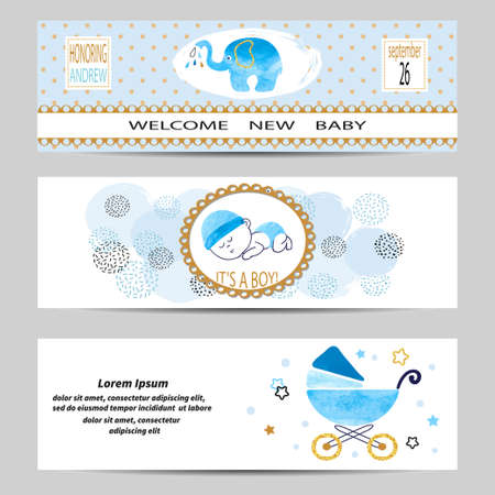 kids birthday party: Baby shower boy banners set. Vector illustration.