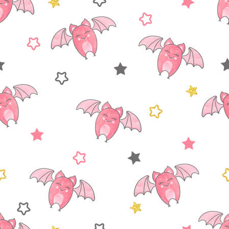 humor: Seamless vector pattern with cute flying bats.