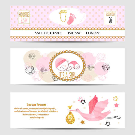 kids birthday party: Baby shower girl banners set. Vector illustration.