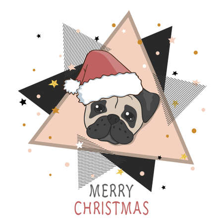 Christmas card with cute pug in Santa hat. Vector holiday illustration. Illustration