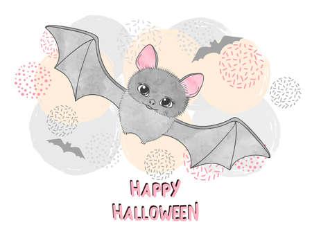 Ilustracja wektorowa Halloween dla dzieci z ładny nietoperz.