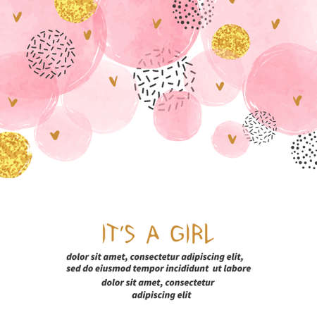 Baby shower girl card with abstract watercolor pink and glittering golden circles.