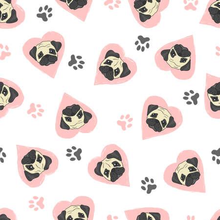 Nahtloses Muster mit niedlichen Pugs und rosa Herzen. Vektorhintergrund mit Hunden. Standard-Bild - 87798181
