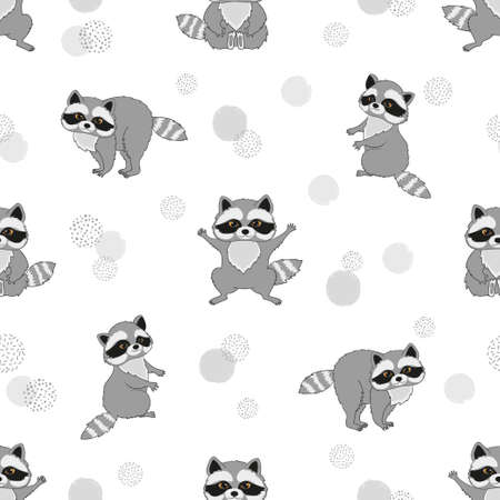 Seamless pattern with cute baby raccoons. Kids vector background.