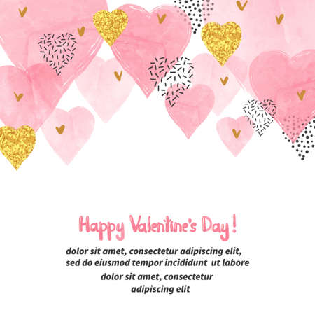 Valentines Day background with watercolor pink hearts and place for text. Vector illustration. Vectores